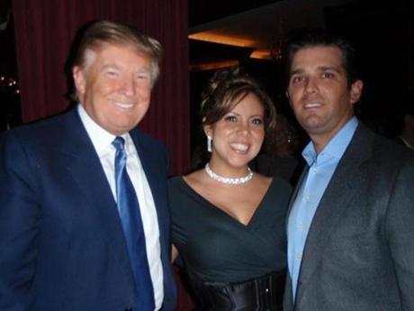 "Tyana Alvarado (center) a contestant from season 10 of ""The Apprentice,"" with Donald Trump and his son Donald Trump Jr."