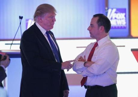 Trump spoke with Reince Priebus, chairman of the Republican National Committee, at a debate in March.