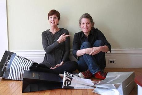 Faith Baum (far left) and Lori Petchers, co-creators of the Old Bags Project.