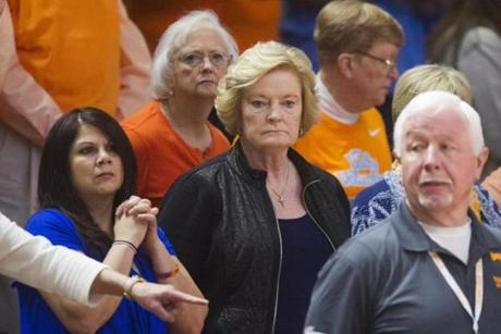 Ms. Summitt (center) attended a Tennessee vs. Alabama game in January.