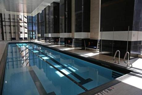 BOSTON, MA - 7/20/2016: Juinor Olympic pool on about the 8th floor at Millennium Tower Boston, downtown crossing at Summer and Washington streets.... an architecture review (David L Ryan/Globe Staff Photo) SECTION: ARTS TOPIC 17Tower