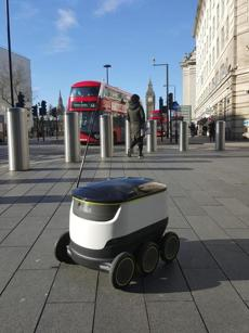 An example of a delivery robot, from Starship.