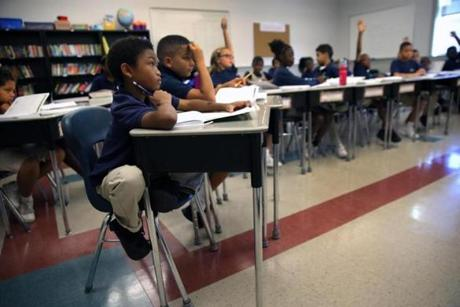 BOSTON, MA - 8/23/2016: Pencil in hand, student Jamai Morton 4th grade math class. The Brooke Charter School in Mattapan, charter schools have been touted as labs of innovation (David L Ryan/Globe Staff Photo) SECTION: METRO TOPIC 31charterinnovate