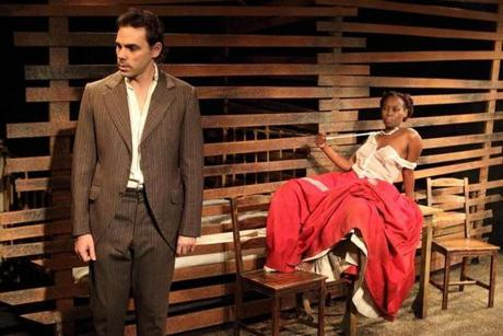 "Provincetown Tennessee Williams Theater Festival presents ""Desire Under the Elms."" Pictured are Marcel Meyer as Eben and Mbali Bloom as Abbie."