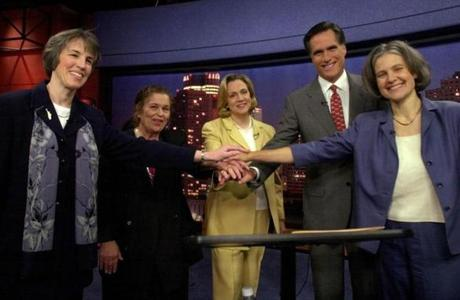 Stein (far right) before a debate in the 2002 gubernatorial race.