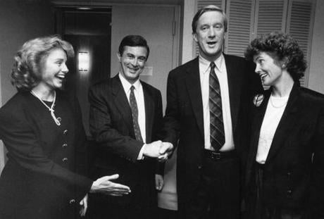 Lieutenant Governor Paul Cellucci with his wife Janet (left), and William (Bill) and Susan Weld (right); congratulating each other after their GOP primary victory in 1990.