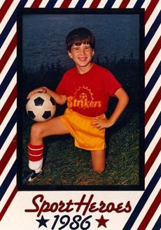 Justin Reynolds in 1986 on a sports card made when he was a young soccer player.