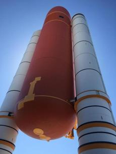 A solid rocket booster replica at Space Shuttle Atlantis Exhibit.
