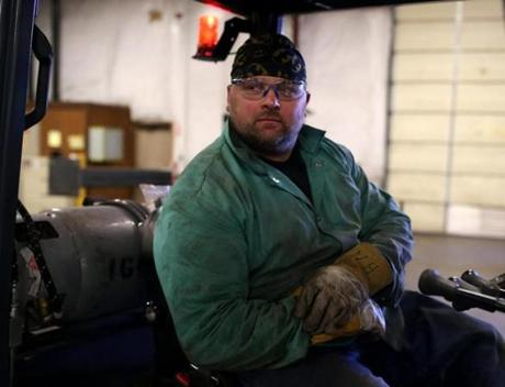 Wilmington Ma 10-26-2016 2016 A portrait of Jason Burr (cq) working inside the plumbing shop at the J.C. Cannistraro fabrication facility in Wilmington. Boston Globe Staff/Photographer Jonathan Wiggs