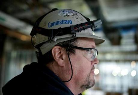 Cambridge Ma 10-27-2016 Foreman John Curtis (cq) at a Binney Street construction site in Cambridge The J.C. Cannistraro company is part of the buildings construction. Boston Globe Staff/Photographer Jonathan Wiggs