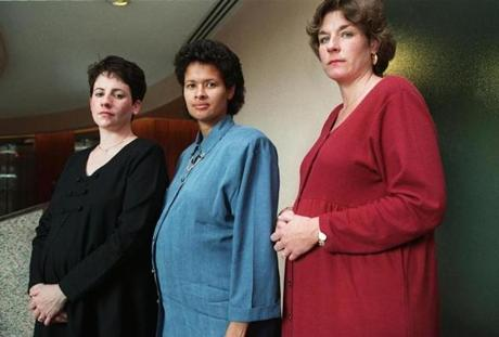 State Police Troopers Caryl Sprague, Lisa , and Sarah O'Leary (left to right) filed suit against the department in 1998 and won a judgment.