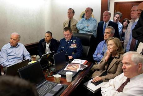 A file White House released handout photo dated 01 May 2011 shows US President Barack Obama (2-L), Vice President Joe Biden (L) and Secretary of State Hillary Clinton (2-R), along with other members of the national security team, receive an update on the mission against Osama bin Laden in the Situation Room of the White House in Washington, DC.