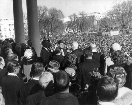 US Supreme Court Chief Justice Earl Warren (center) administered the oath of office to President Kennedy in 1961.
