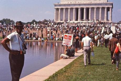 "Crowd gathering at the Lincoln Memorial for the March on Washington in ""I Am Not Your Negro."""