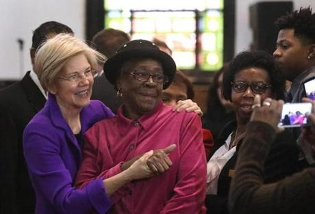 Senator Elizabeth Warren greeted congregants after speaking during the Sunday service at the Columbus Avenue African Methodist Episcopal Zion Church in February.