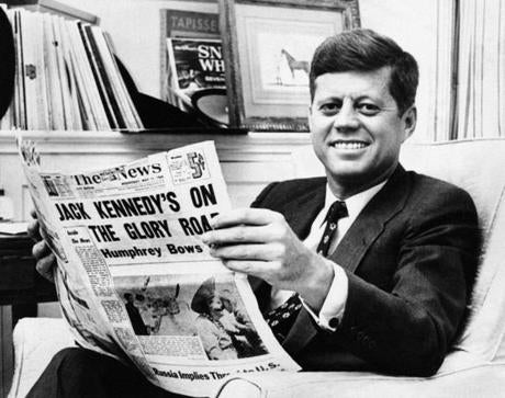"In a scene from the 1960 documentary film ""Primary,"" then-Senator John Kennedy after he became the front-runner for the 1960 Democratic presidential nomination."