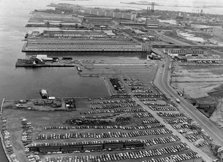 Boston, MA - 1/1/1984: Aerial view of the Boston Harbor in Boston in 1984. The area had become a hotbed of development, but none of it was coordinated in a way that ensured a place for the harbor's maritime activities, such as fishing and yachting. (Bill Brett/Globe Staff) --- BGPA Reference: 140521_CB_001