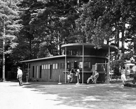 Stockbridge, MA - 7/1/1946: The ticket and information office at Tanglewood, summer 1946. [Date unknown - estimated to month] (Charles F. McCormick/Globe Staff) --- BGPA Reference: 170216_EF_004