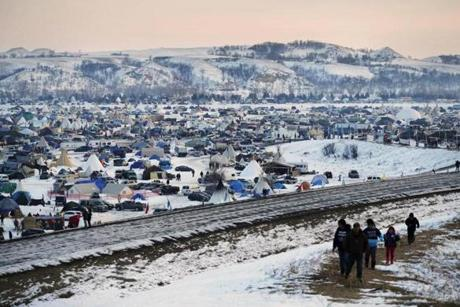 The Oceti Sakowin camp in December where people have gathered to protest the Dakota Access oil pipeline near Cannon Ball N.D