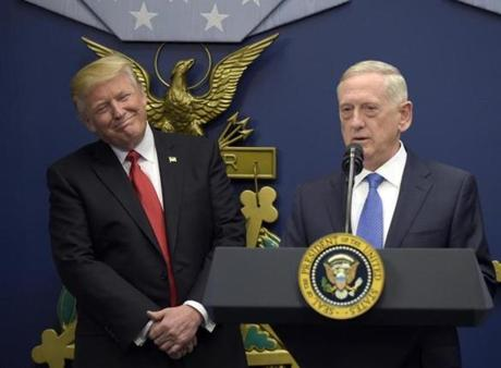 Trump listened as Defense Secretary Jim Mattis spoke last month at the Pentagon.