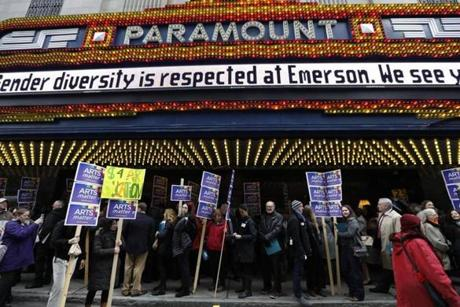 "Boston, MA - 3/28/2017 - Marchers gather in front of the Paramount Center to march to the State House for what organizers called an ""Arts Matter Advocacy Day"" urging lawmakers to support increased state spending on the arts as both the NEA and NEH face possible elimination in Boston, MA, March 28, 2017. (Keith Bedford/Globe Staff)"
