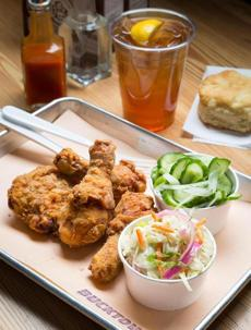 Bucktown's atmosphere belies the high-impact taste of meals like the simple but savory fried chicken.