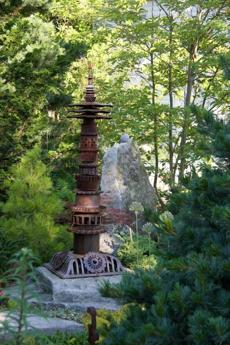 An iron pagoda by New Hampshire artist Jill Nooney.