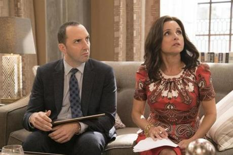 "Tony Hale and Julia Louis Dreyfuss in the HBO series ""Veep."""