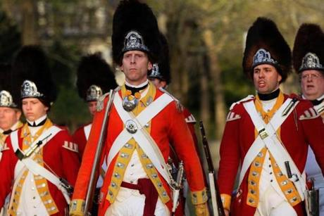 "His Majesty's Tenth Regiment of Foot, a historically recreated British infantry unit, marched through Lexington after ""defeating"" the Lexington Militia on the Lexington Green early Monday morning."