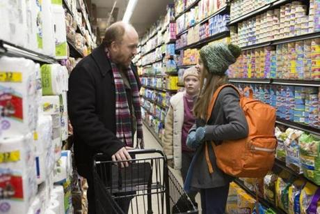 "From left, Louis C.K. as Louie, Ursula Parker as Jane, and Hadley Delaney as Lilly in ""Louie."""