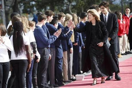 Boston, MA - 5/7/2017 - Caroline Kennedy walks the red carpet with her son Jack Schlossberg as they arrive for the annual John F. Kennedy Profile in Courage Award at the the John F. Kennedy Presidential Library and Museum in Boston, MA, May 7, 2017. Former U.S. President Barack Obama was the recipient of the award. ()