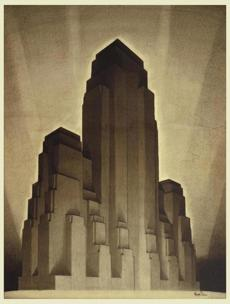 Study for Maximum Mass Permitted by the 1916 New York Zoning Law, Stage 4, 1922; Designed by Hugh Ferriss.