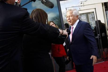 Patriots owner Robert Kraft talked to the media as he arrived at the John F. Kennedy Library in Boston.