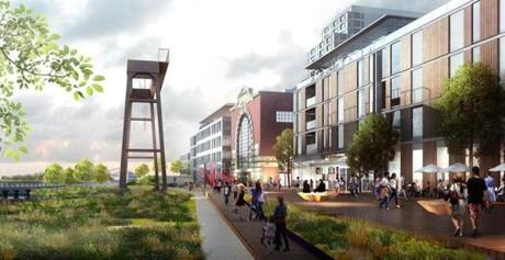 for 25PowerPlant ( Rendering by Redgate Capital Partners and Hilco Global) --- south boston Edison Power Plant redevelopment team files LOI --- info from source: Waterfront View_Red Sculpture