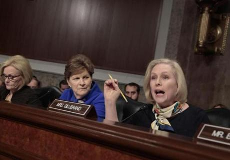 Senate Armed Services Committee member Sen. Kirsten Gillibrand, D-N.Y., right, joined by fellow members Sen. Claire McCaskill, D-Mo., left, and Sen. Jeanne Shaheen, D-N.H., questions Marine Corps Commandant Gen. Robert B. Neller on Capitol Hill during a March hearing.