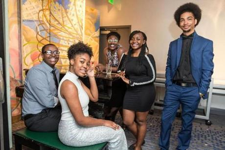 05/24/2017 CAMBRIDGE, MA L-R Ibrahim Dahir (cq), Legacy Thornton (cq), Tope Shola (cq), Mariama Savage (cq), and Angel Pena (cq) attended 826 BostonÕs annual gala, ÒNight of 1,000 StoriesÓ held at the Royal Sonesta in Cambridge. (Aram Boghosian for The Boston Globe)