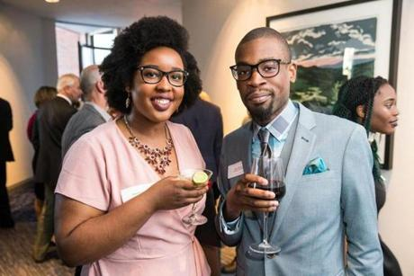05/24/2017 CAMBRIDGE, MA Priscille Joseph (cq) (left) and Volunteer of the Year Chris Lafortune (cq) attended 826 BostonÕs annual gala, ÒNight of 1,000 StoriesÓ held at the Royal Sonesta in Cambridge. (Aram Boghosian for The Boston Globe)