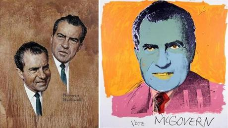 "Rockwell's ""The Puzzling Case of Richard Nixon"" (1967) and Warhol's ""Vote McGovern"" (1972)"