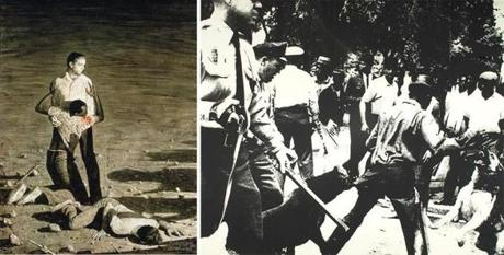 "Rockwell's ""Murder in Mississippi"" (1965) and Warhol's ""Birmingham Race Riot"" (1964)."