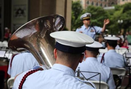 The U. S. Coast Guard Band plays during the Opening Ceremony of Sail Boston.