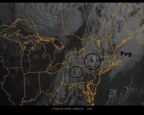 Monday's satellite shows fog off the coast and storms developing inland.