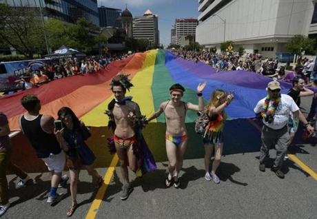 Thousands gathered for the Utah Pride Parade in Salt Lake City last month.