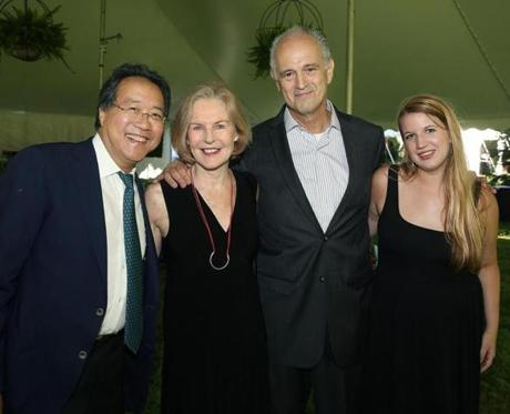"From left: Cellist Yo-Yo Ma and Margery Eagan, Jim Braude, and Amanda McGowan of WGBH's ""Boston Public Radio."""