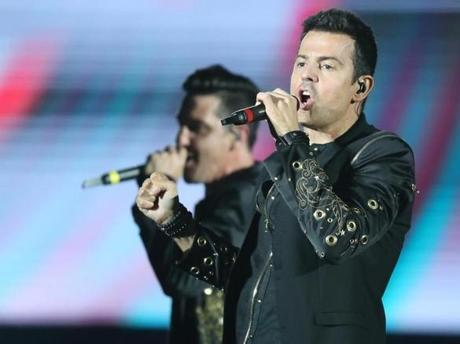 Jordan Knight sang during the New Kids on the Block's performance at Fenway.