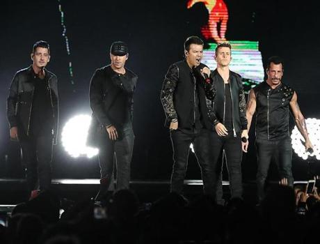 New Kids on the Block performed in concert at Fenway Park.
