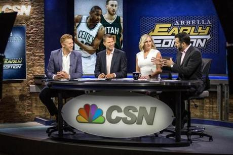 "07/05/2017 BURLINGTON, MA L-R Brian Scalabrine (cq), Michael Felger (cq), Trenni Kusnierek (cq) and Lou Merloni (cq) at CSN New England's studios in Burlington during the broadcast of ""Arbella Early Edition."" (Aram Boghosian for The Boston Globe)"