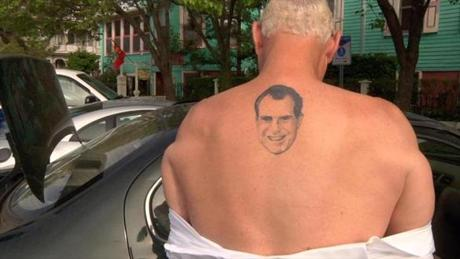 Roger Stone Jr. displayed his tattoo of former President Richard Nixon.
