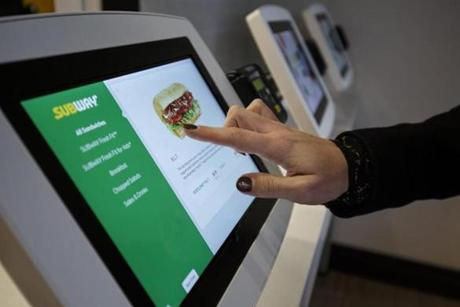 New ordering tablets will be used in stores after Subway's redesign.