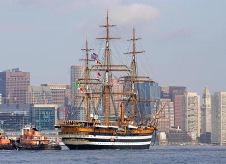 The Amerigo Vespucci entered Boston Harbor.