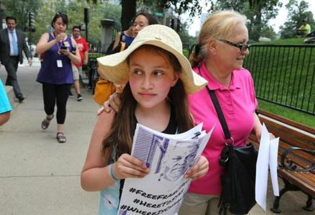 Mellanie Rodriguez, 10, at a rally in July for the release of her father, MIT janitor Francisco Rodriguez.